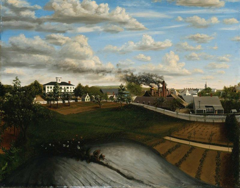 View of the Iron Works Canton Massachusetts 1850 | Unidentified artist | oil painting