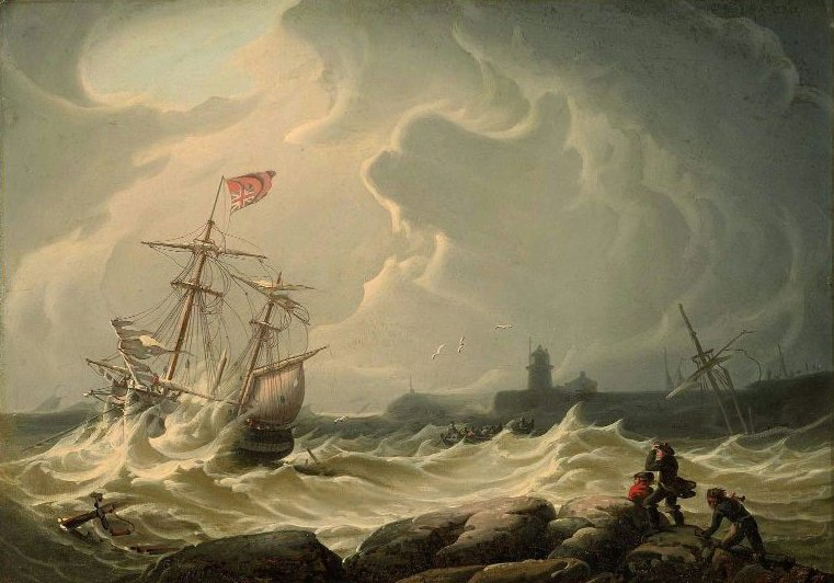 Ship in Storm | Robert Salmon | oil painting