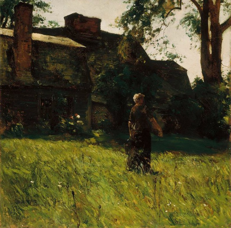 Old Fairbanks House Dedham Massachusetts 1884 | Childe Hassam | oil painting