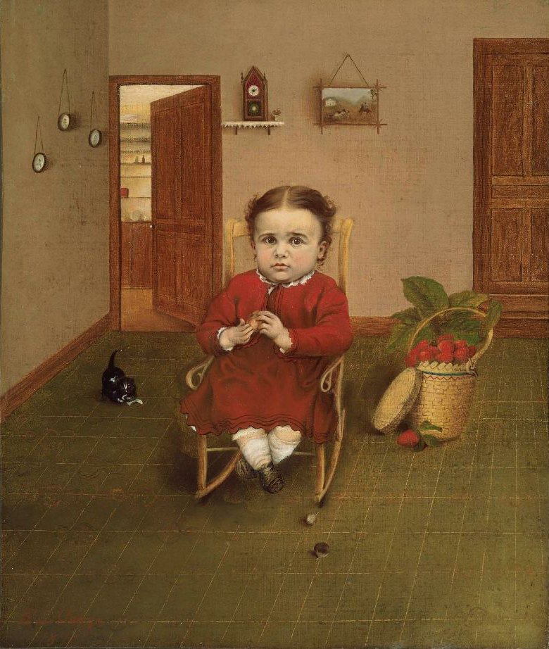 Child in Rocking Chair 1876 | E L George | oil painting