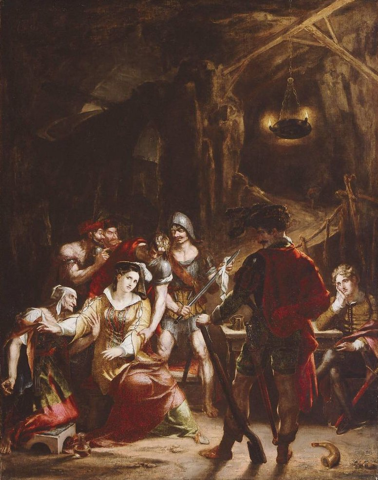 Donna Mencia in the Robbers Cavern 1815 | Washington Allston | oil painting