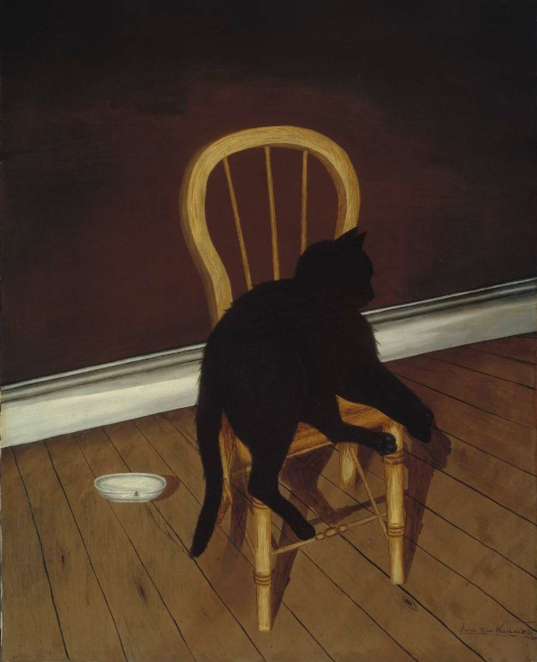 Black Cat on a Chair third quarter 19th century | Andrew L von Wittkamp | oil painting