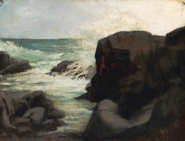 Sea and Rocks near Spouting Horn 1859 | John La Farge | oil painting