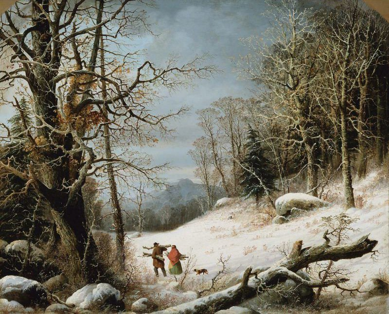 Winter Landscape Gathering Wood 1859 | George Henry Durrie | oil painting