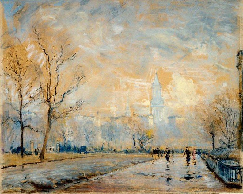 Custom House Tower from the Public Garden Boston 1914 | Arthur Clifton Goodwin | oil painting