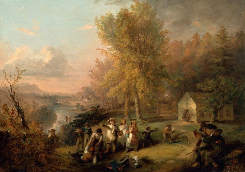 Dismissal of School on an October Afternoon 1845 | Henry Inman | oil painting