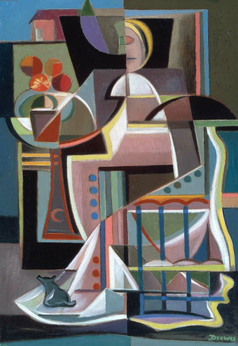 Woman on a Balcony 1947 | Werner Drewes | oil painting