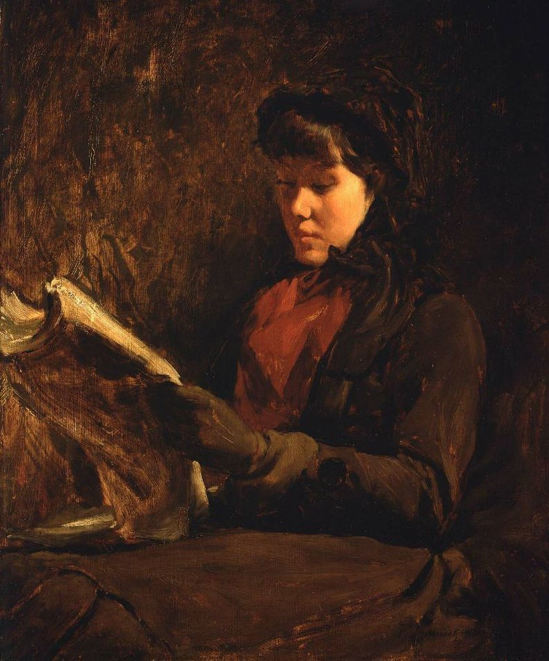 A Girl Reading 1877 | Frank Duveneck | oil painting