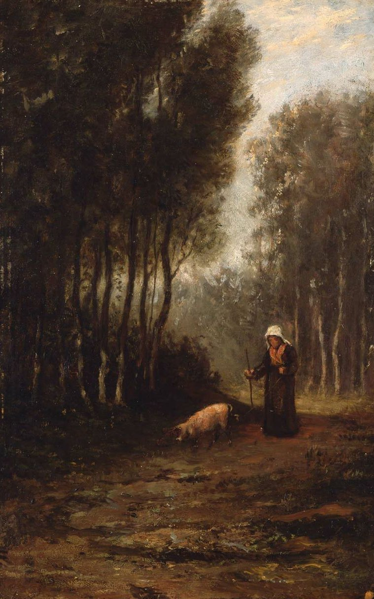 French Peasant Woman with Pig 1853 | William Morris Hunt | oil painting