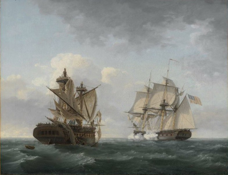 Engagement Between the United States and the Macedonian 1813 | Thomas Birch | oil painting