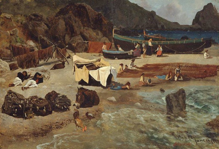 Fishing Boats at Capri 1857 | Albert Bierstadt | oil painting