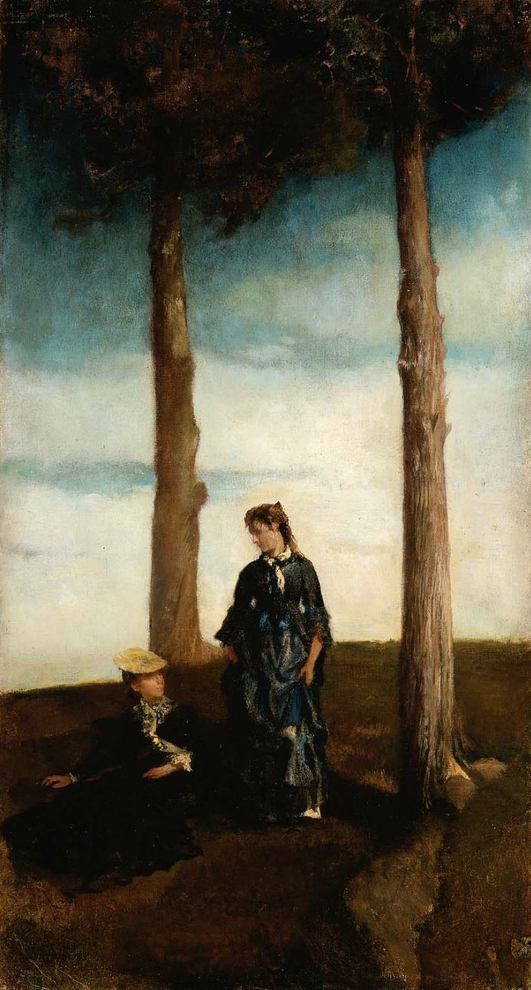A Hillside Study Two Trees 1862 | John La Farge | oil painting