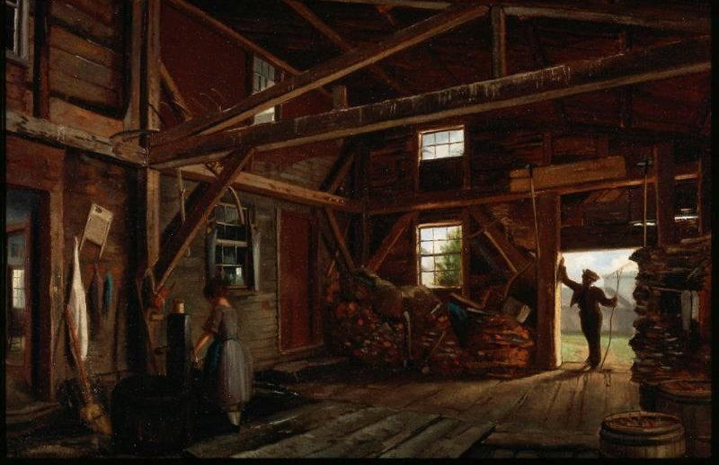 Woodshed Interior 1850 | Unidentified artist | oil painting