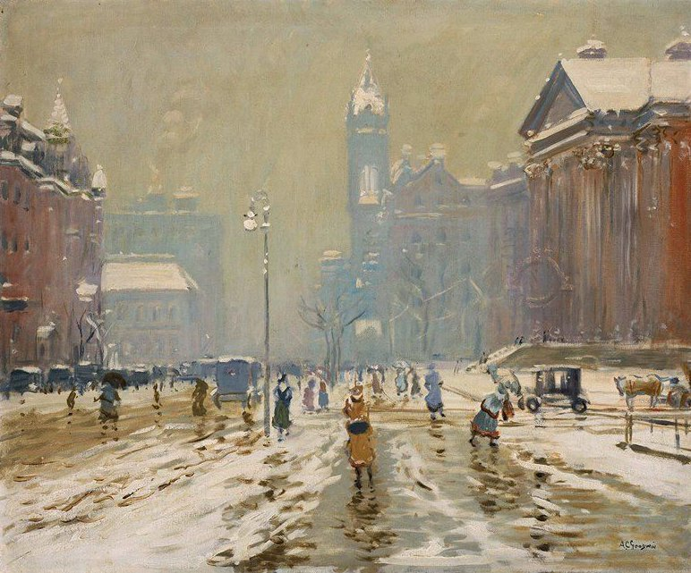 Copley Square Boston 1908 | Arthur Clifton Goodwin | oil painting