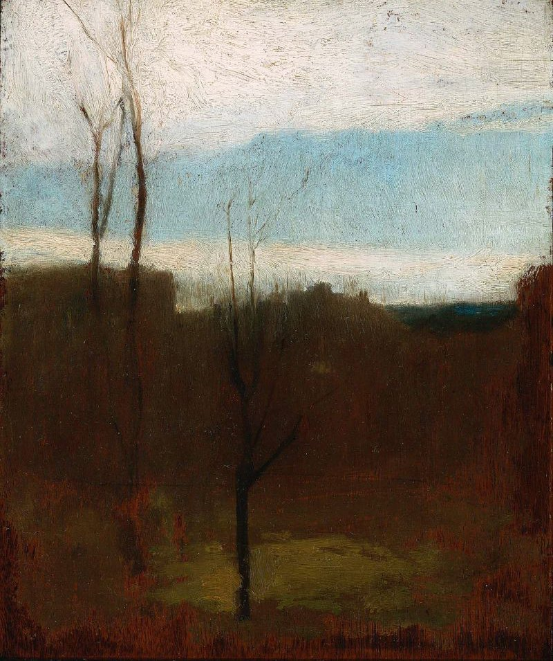 Landscape with Bare Trees and Coastline 1862 | John La Farge | oil painting