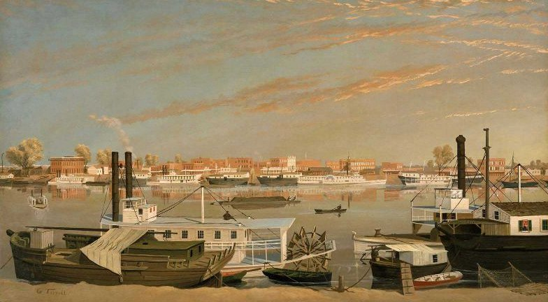 View of Sacramento California from across the Sacramento River 1855 or after | George Tirrell | oil painting