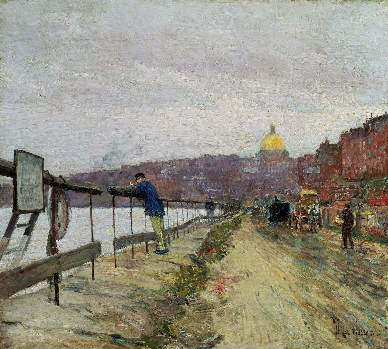 Charles River and Beacon Hill 1892   Childe Hassam   oil painting