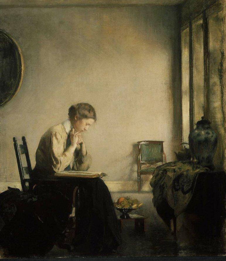 Girl Reading 1909 | Edmund Charles Tarbell | oil painting