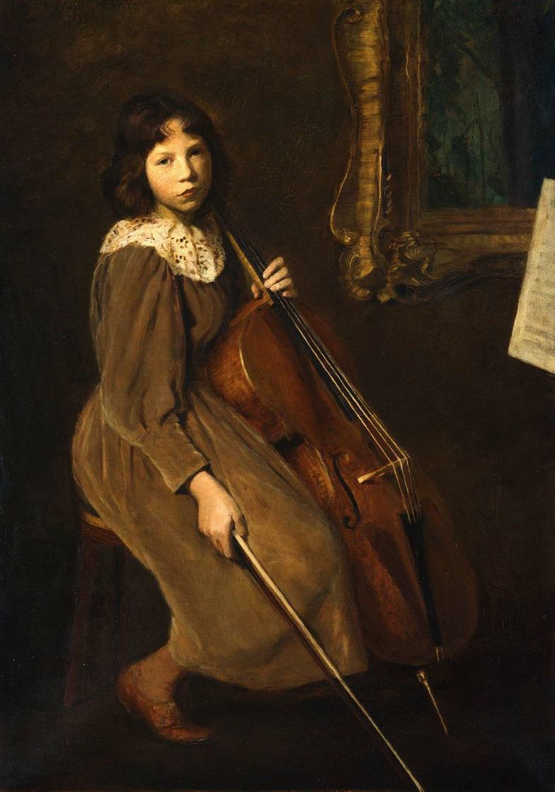 A Young Violoncellist 1892 | Lilla Cabot Perry | oil painting