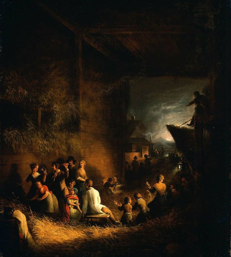 Corn Husking Frolic 1828 | Alvan Fisher | oil painting