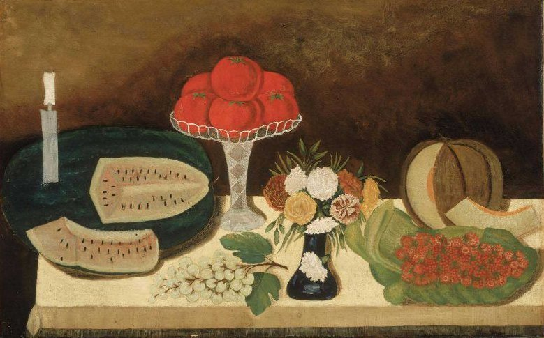 Tomatoes Fruit and Flowers 1860 | Unidentified artist | oil painting