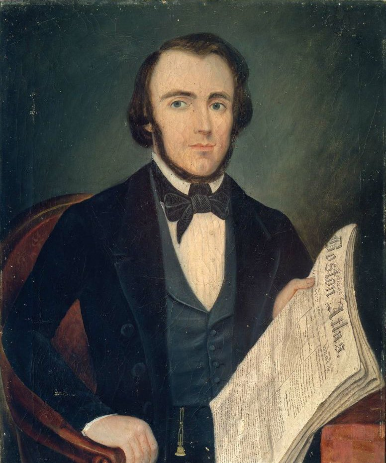 Portrait of a Man with Boston Atlas 1845 | Unidentified artist | oil painting