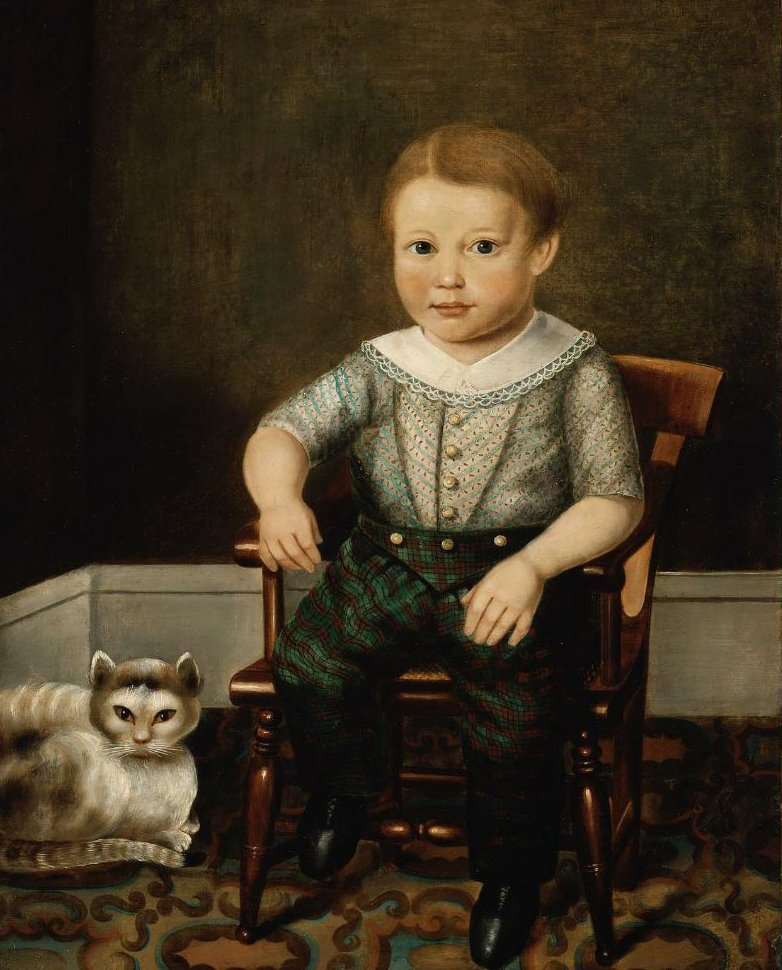 Boy with a Cat 1845 | Unidentified artist | oil painting