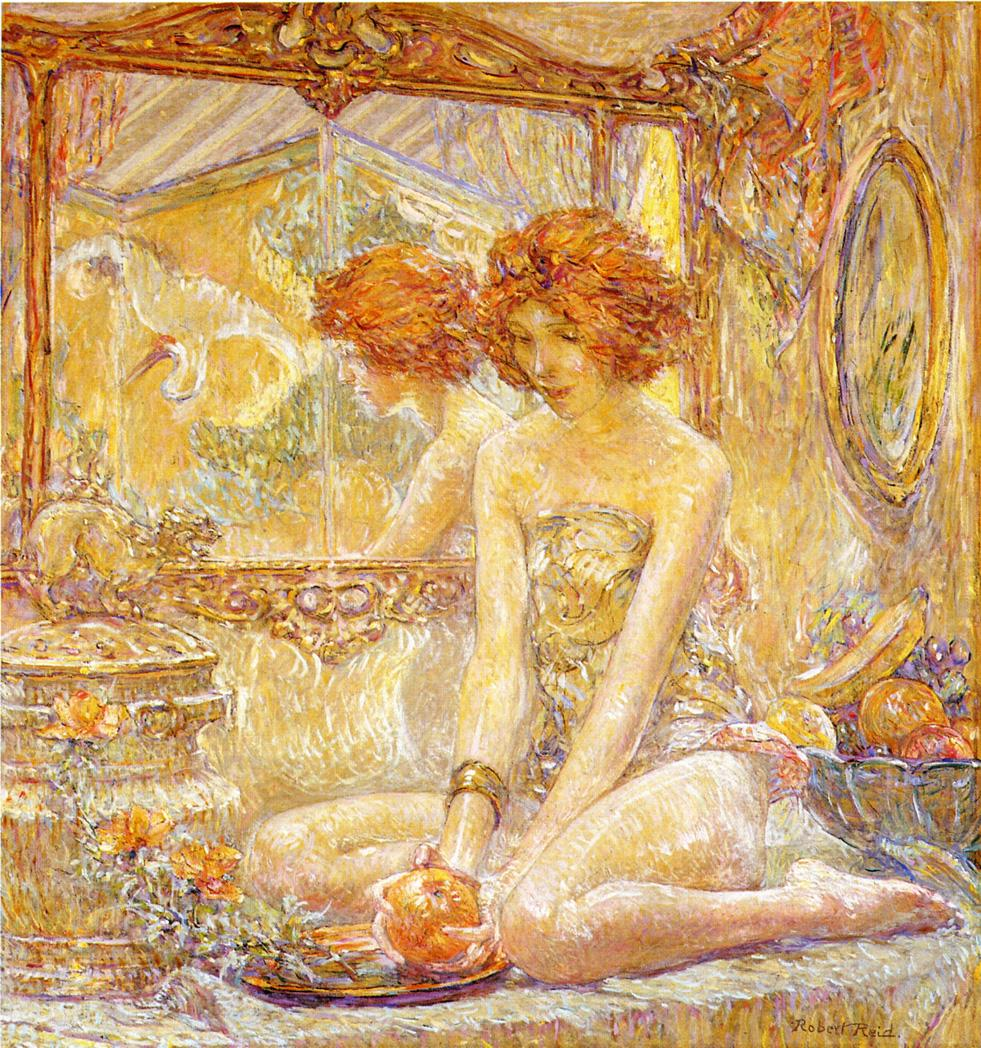 Reflections Date unknown | Robert Lewis Reid | oil painting