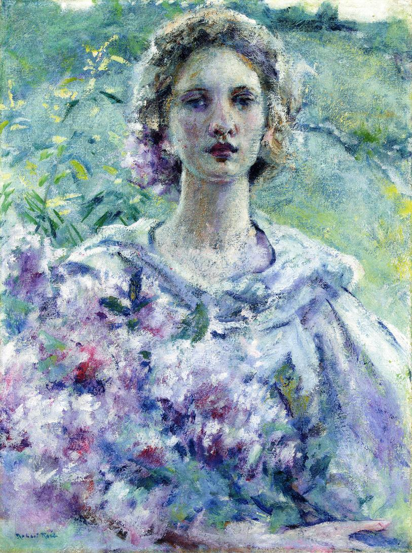 Girl with Flowers Date unknown | Robert Lewis Reid | oil painting