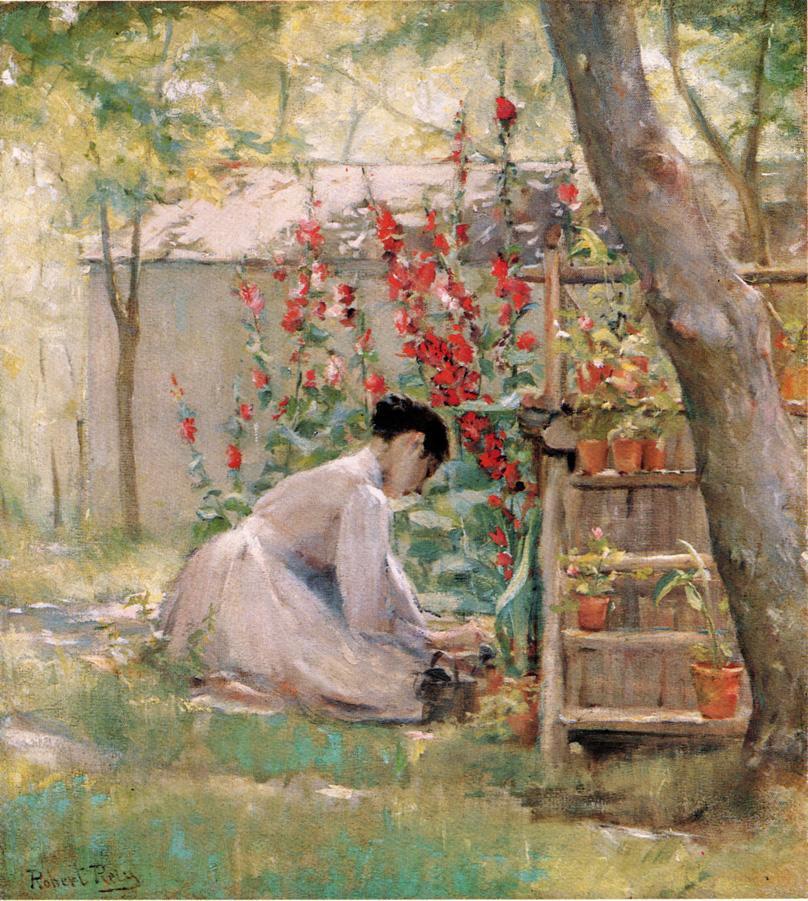Tending the Garden Date unknown | Robert Lewis Reid | oil painting