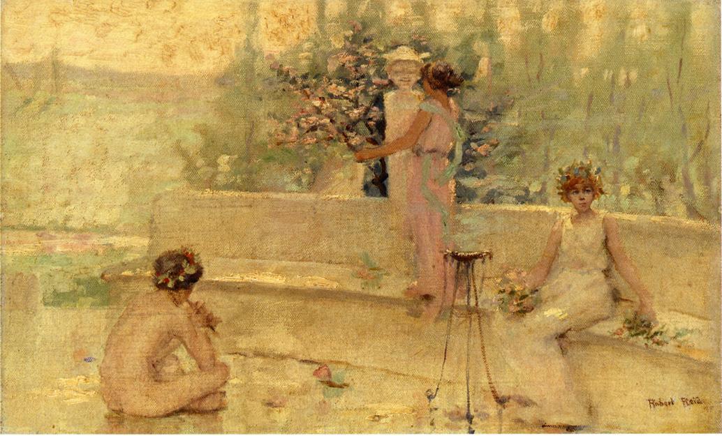 Three Figures in an Italian Garden Date unknown | Robert Lewis Reid | oil painting