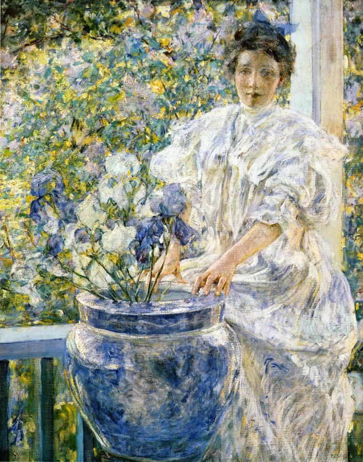 Woman on a Porch with Flowers 1906 | Robert Lewis Reid | oil painting