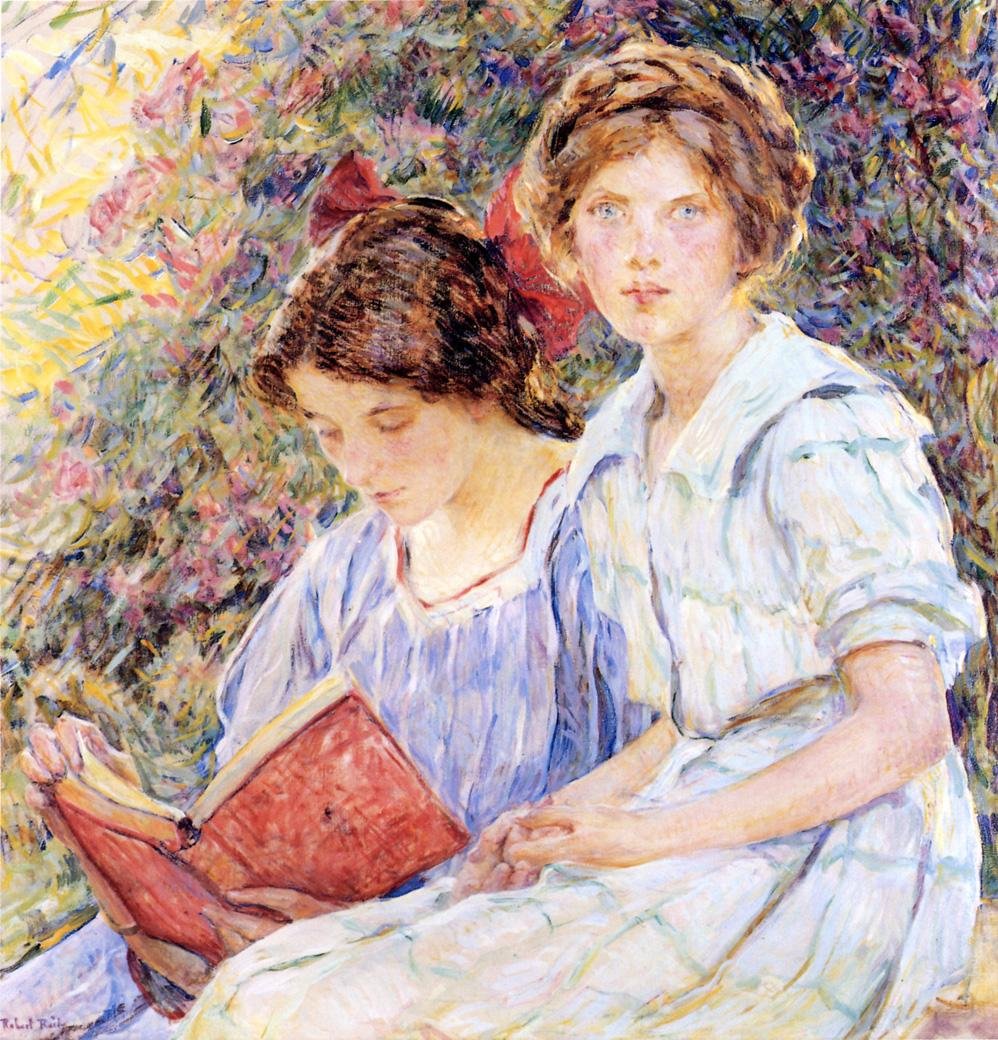 Two Women Reading Date unknown | Robert Lewis Reid | oil painting