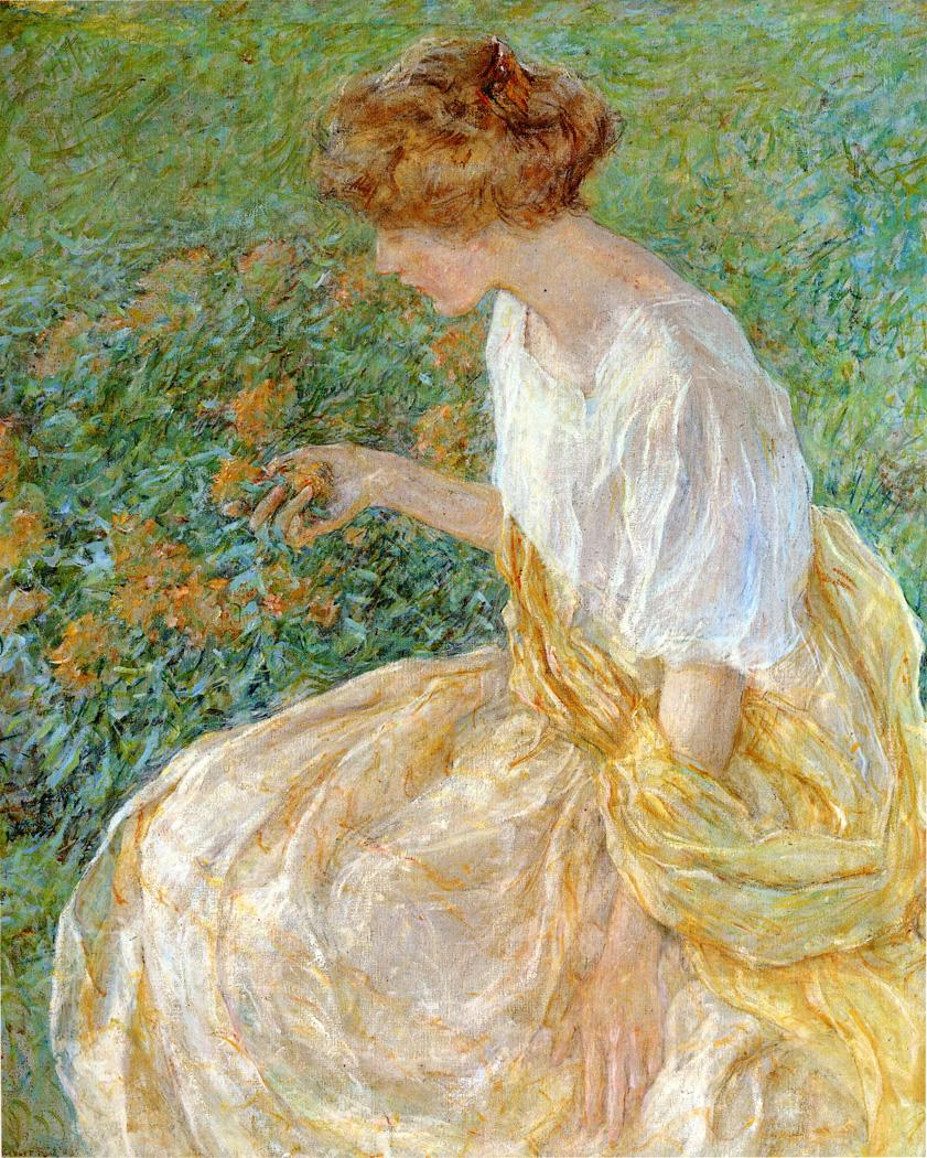 The Yellow Flower (aka The Artist's Wife in the Garden) 1908 | Robert Lewis Reid | oil painting