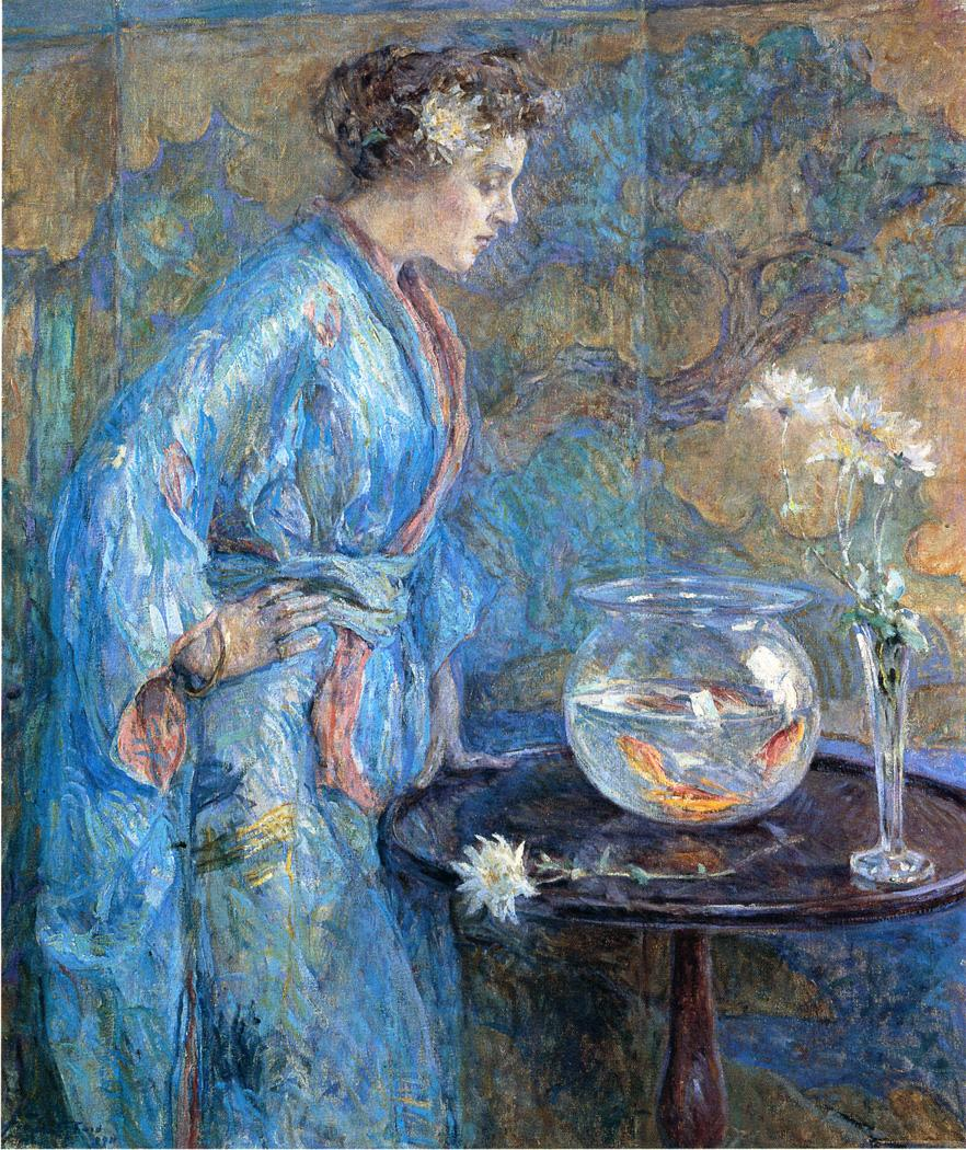 Girl in Blue Kimono 1911 | Robert Lewis Reid | oil painting