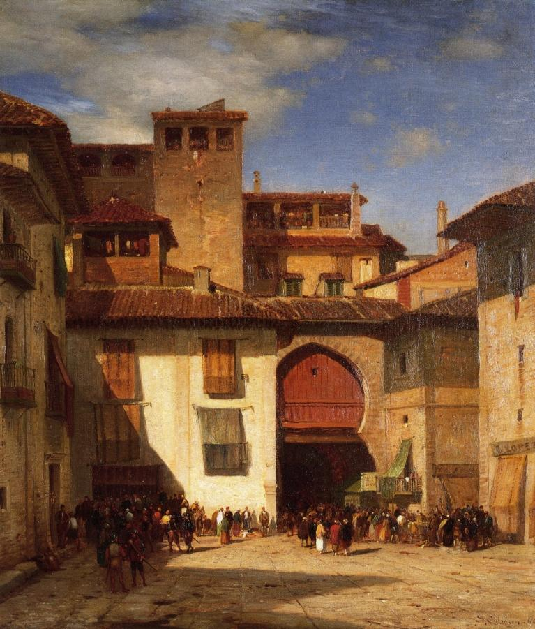 Spanish Market Place 1864 | Samuel Colman Jr | oil painting