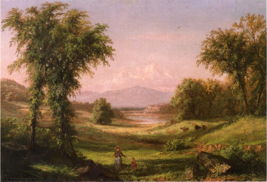 A New Hampshire Landscape with Elma Mary Gove in the Foreground 1854 1859 | Samuel Colman Jr | oil painting