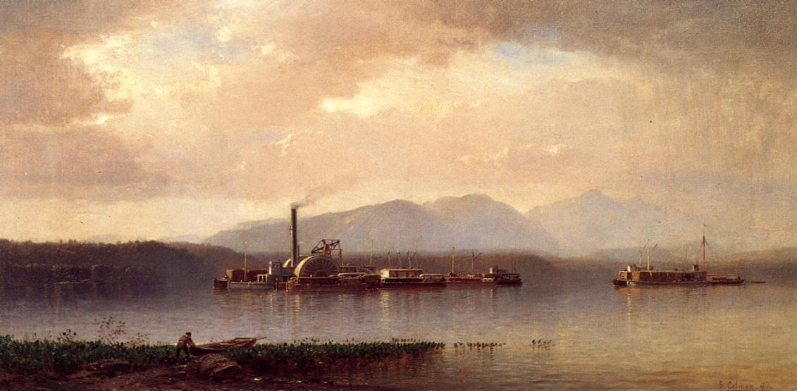 The Hudson Highlands aka Hudson river Two and Barge 1867 | Samuel Colman Jr | oil painting