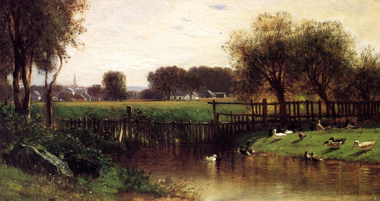 Ducks by a Pond | Samuel Colman Jr | oil painting