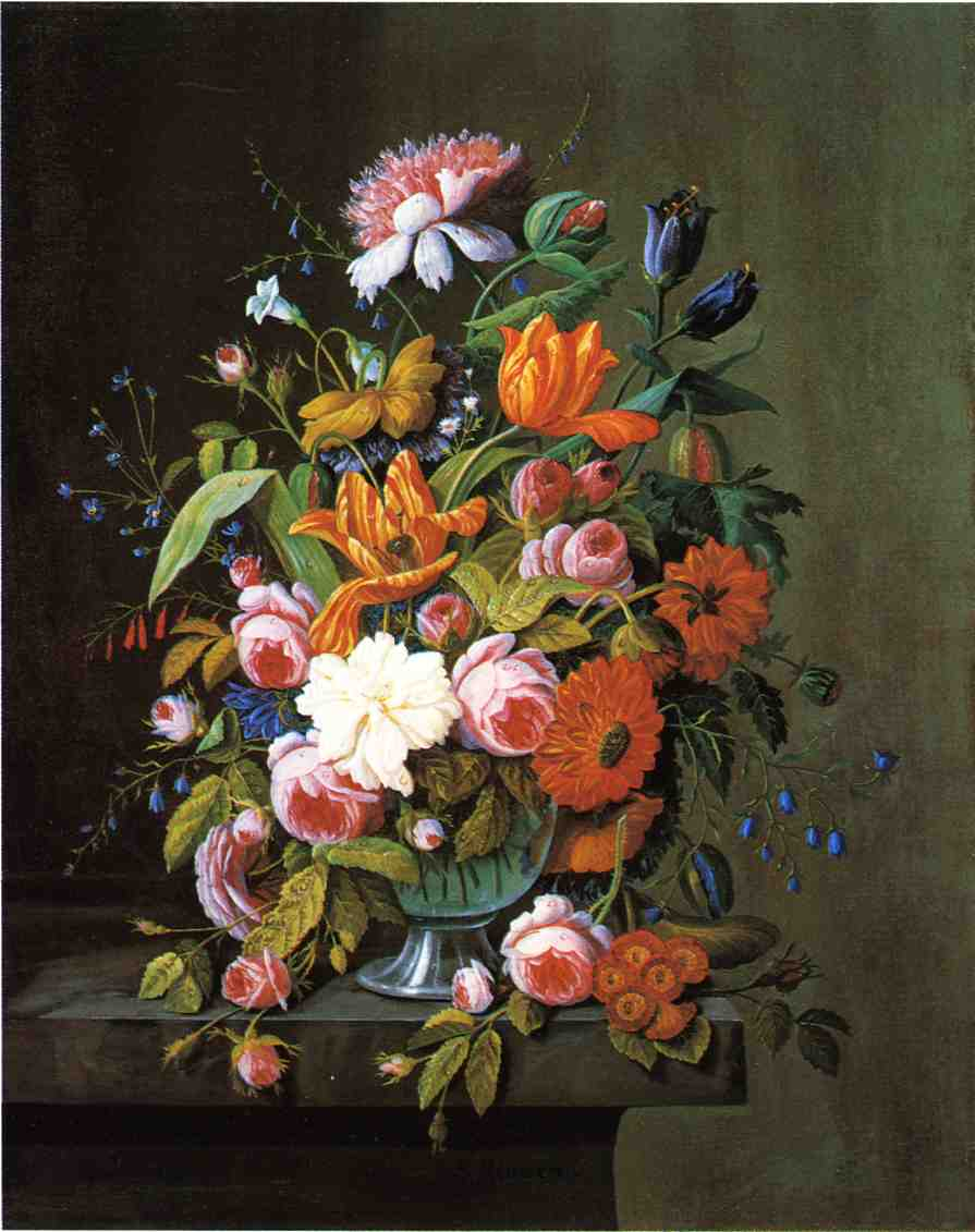 Summer Flowers in a Glass Bowl Date unknown | Severin Roesen | oil painting