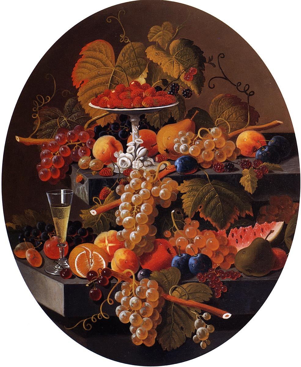 Still Life with Fruit on a Ledge 1848 1858 | Severin Roesen | oil painting