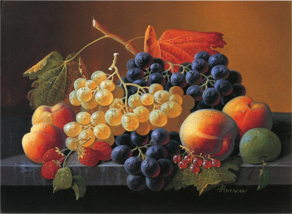 Still Life of Fruit on a Marble Tabletop Date unknown | Severin Roesen | oil painting