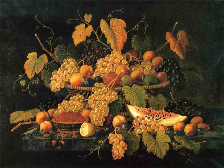 Still Life with Basket of Fruit Date unknown | Severin Roesen | oil painting