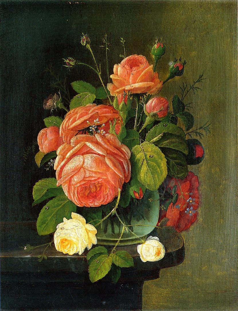 Roses on a Tabletop Date unknown | Severin Roesen | oil painting
