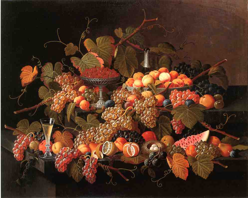 Still Life with Fruit and Champagne Date unknown | Severin Roesen | oil painting