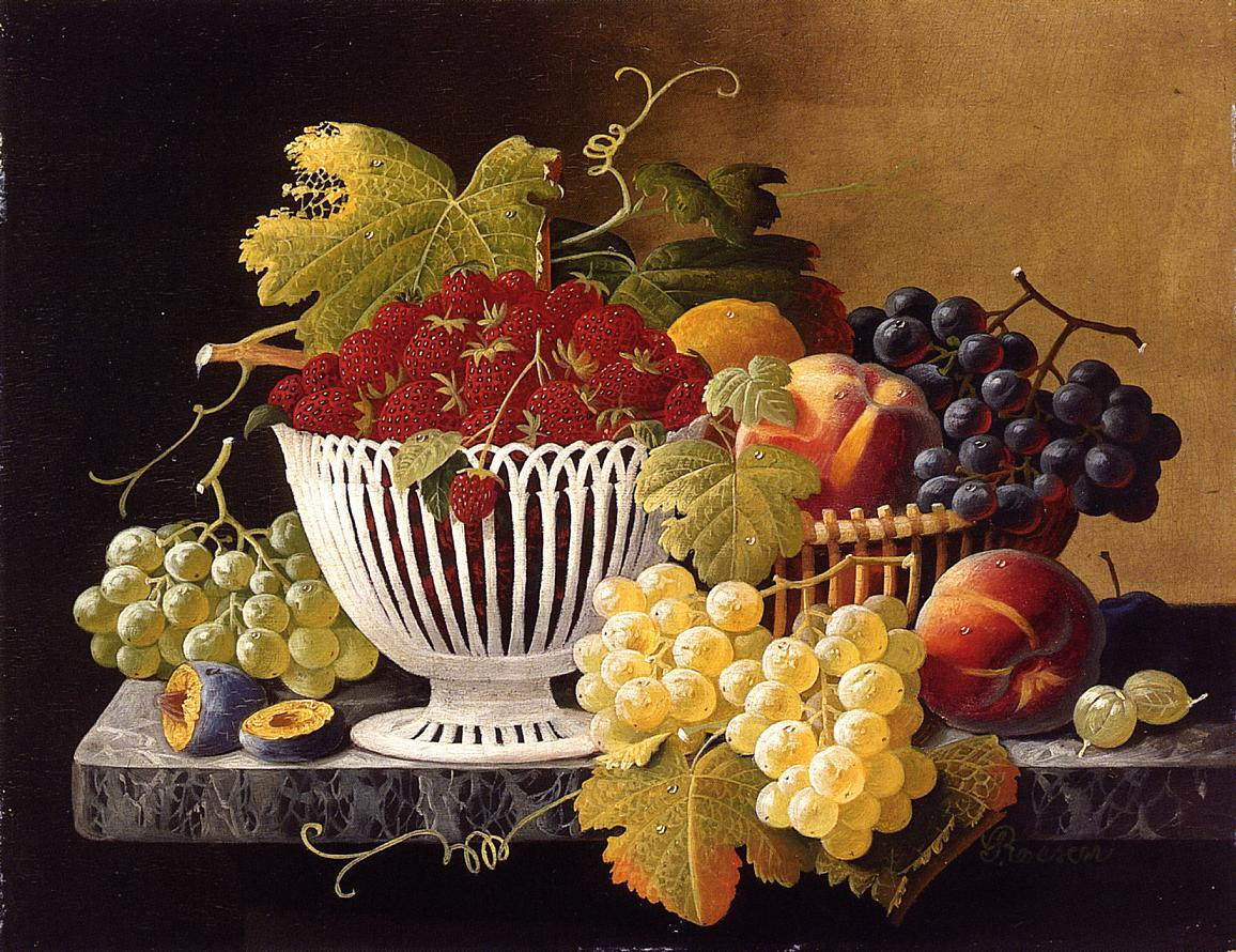 Still Life with Strawberry Basket 1860 1871 | Severin Roesen | oil painting