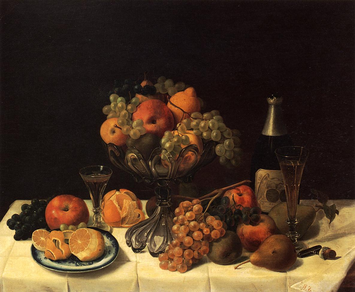 Fruit Still Life with Champagne Bottle 1848 | Severin Roesen | oil painting