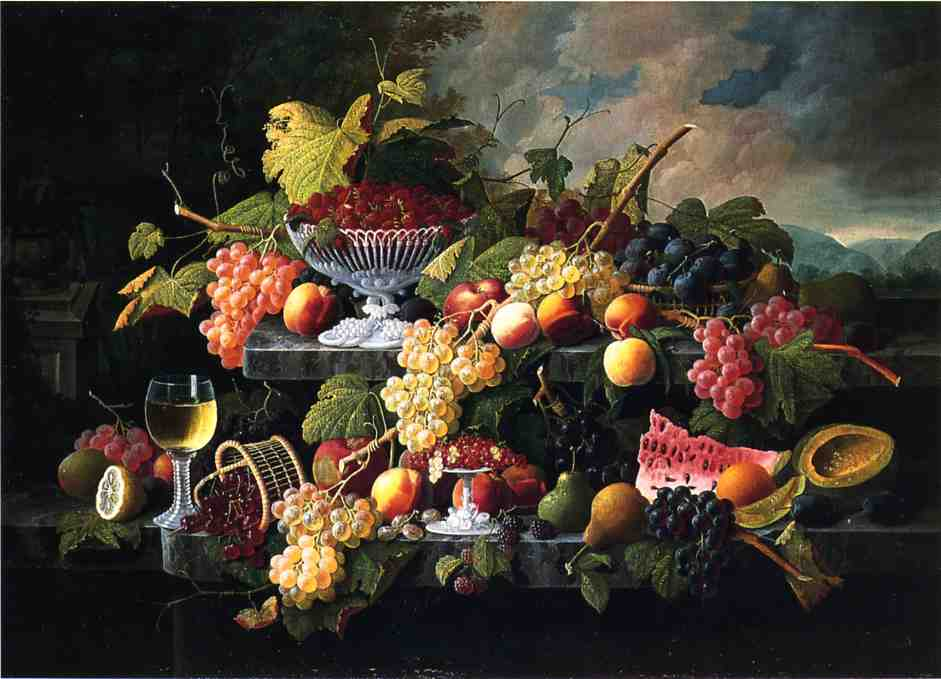Fruit Still Life with Wine Glass in a Landscape Date unknown | Severin Roesen | oil painting