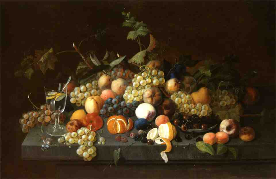Fruit Still Life with Glass of Lemonade 1850 | Severin Roesen | oil painting