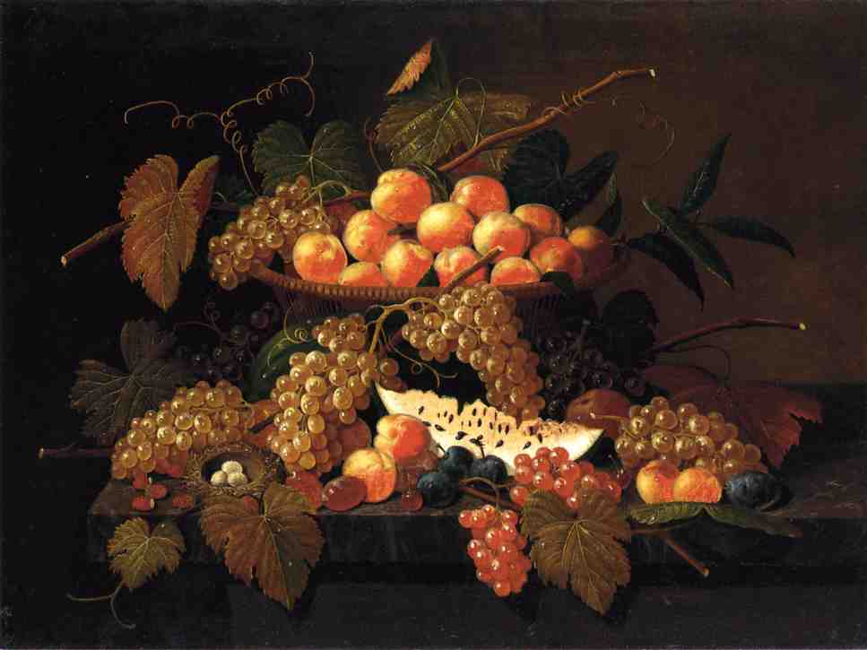 Still Life with Fruit and Nest Date unknown | Severin Roesen | oil painting